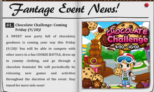More Event News! Chocolate Challenge 9/20-10/02